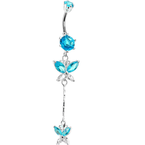 Sterling Silver 925 Aqua Cubic Zirconia Dual Butterfly Drop Belly Ring