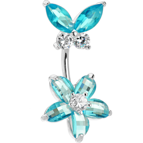Sterling Silver 925 Aqua Cubic Zirconia Floral Butterfly Belly Ring