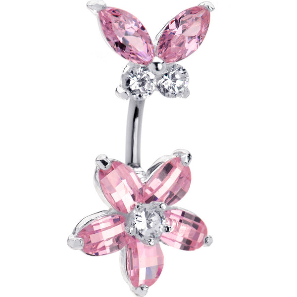 Sterling Silver 925 Pink Austrian Crystal Floral Butterfly Belly Ring