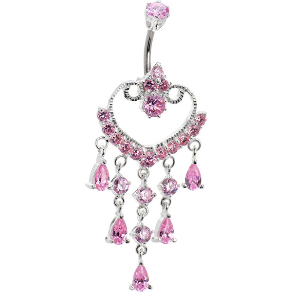 Sterling Silver 925 Pink Cubic Zirconia Exotic Heart Chandelier Belly Ring