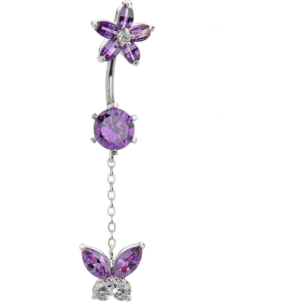 Sterling Silver 925 Amethyst Cubic Zirconia Butterfly Flower Belly Ring