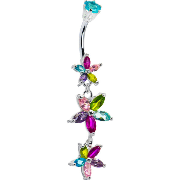 Sterling Silver 925 Multi Cubic Zirconia Floral Drop Belly Ring