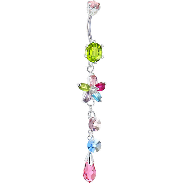 Silver 925 Multi CZ Flower Teardrop Belly Ring