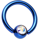 Blue Aurora Titanium Ball Captive Ring Created with Swarovski Crystals