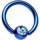 Blue Aqua Titanium Ball Captive Ring Created with Swarovski Crystals