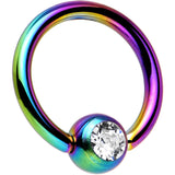 Rainbow TitaniumBall Captive Ring Created with Swarovski Crystals
