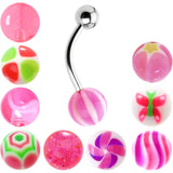 14 Gauge Multi Pink 10 Ball Interchangeable Belly Ring Pack