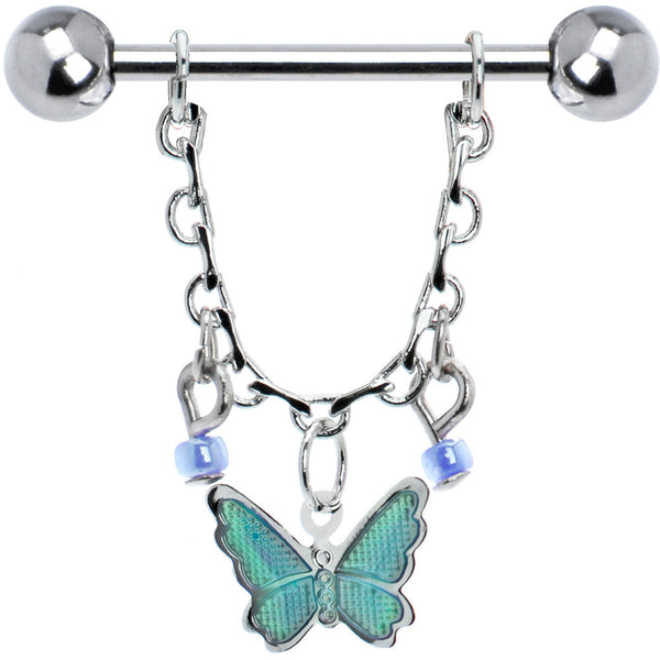 Aqua Gypsy Butterfly Chain Drop Nipple Ring