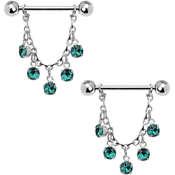 Aqua Gem Essence of Elegance Chain Dangle Nipple Ring Set