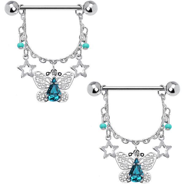 Blue Zircon Elaborate Butterfly Nipple Ring Set