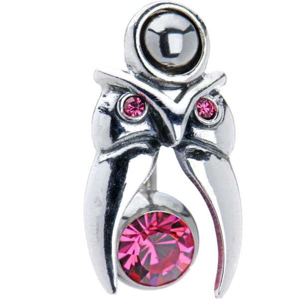 Pink Gem Sterling Silver Tribal Head Tattoo Belly Shield Ring