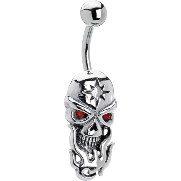 Red Gem Sterling Silver Flame Skull Belly Ring