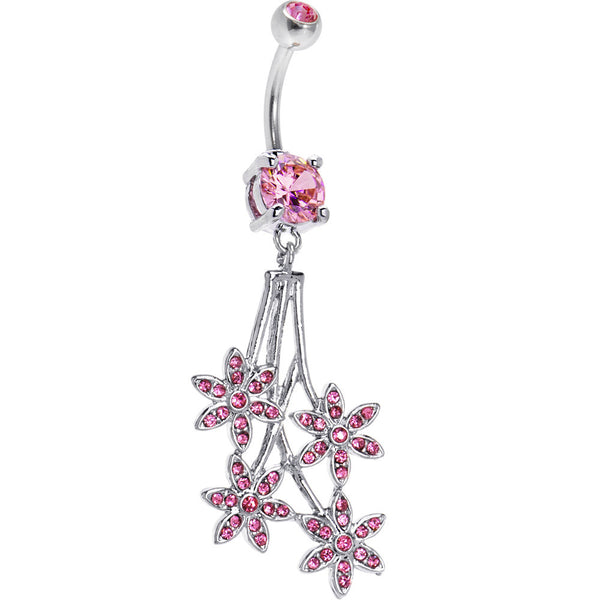 Pink Gem Paved Flowers Drop Belly Ring