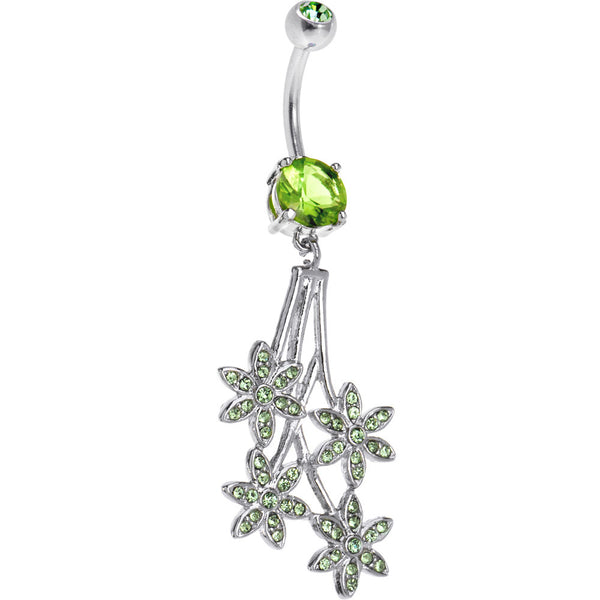 Peridot Green Gem Paved Flowers Drop Belly Ring