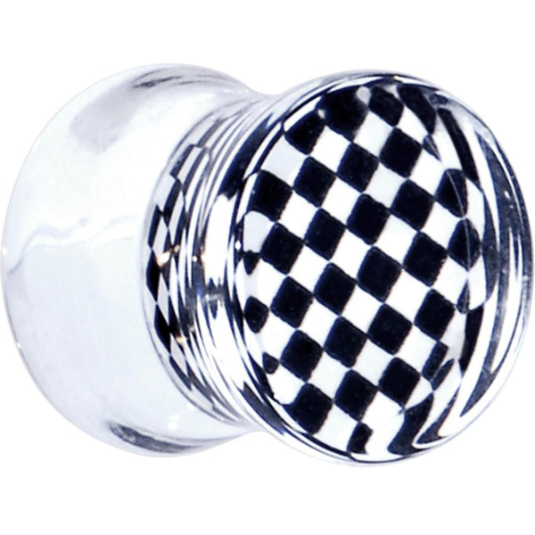 Black and White Checker Inlayed Saddle Plug 2 Gauge to 20mm