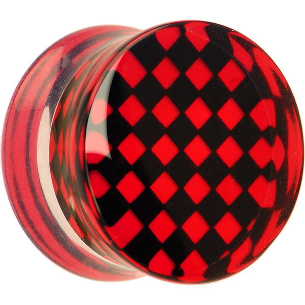 Red and Black Checker Inlayed Saddle Plug 2 Gauge to 30mm