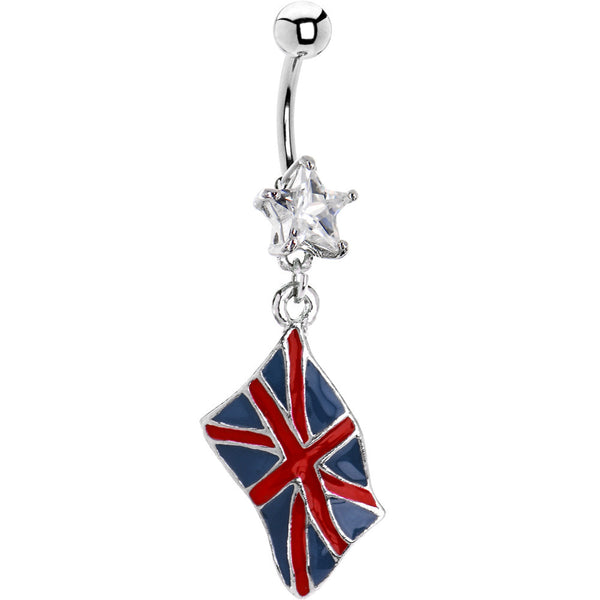 United Kingdom Flag Dangle Belly Ring