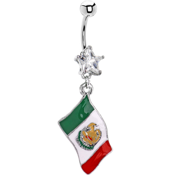 Mexico Flag Dangle Belly Ring