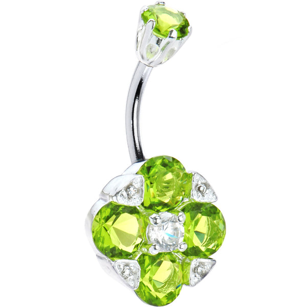 Sterling Silver 925 Peridot Cubic Zirconia Empress Belly Ring