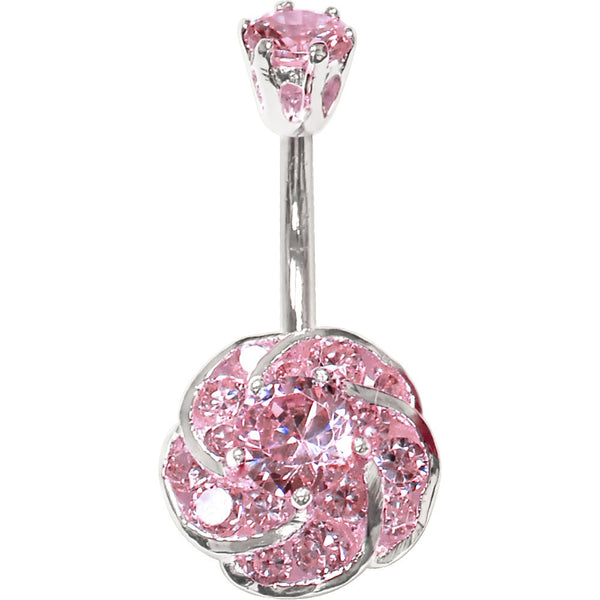 Sterling Silver 925 Pink Cubic Zirconia Whirling Flower Belly Ring