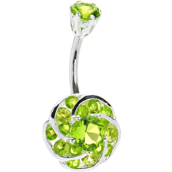 Sterling Silver 925 Peridot Cubic Zirconia Whirling Flower Belly Ring