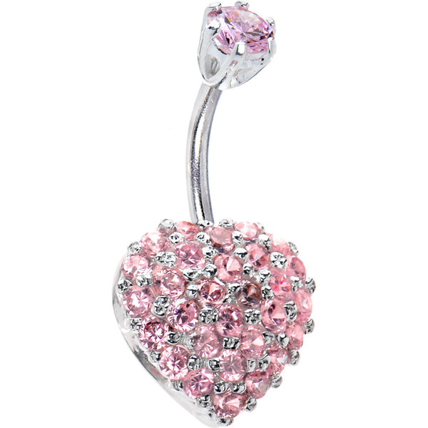 Sterling Silver 925 Pink Cubic Zirconia Radiant Heart Belly Ring