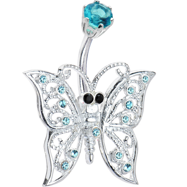 Sterling Silver 925 Aqua Cubic Zirconia Sterling Butterfly Belly Ring