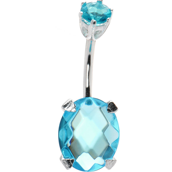 Sterling Silver 925 Aqua Cubic Zirconia Regal Round Solitaire Belly Ring