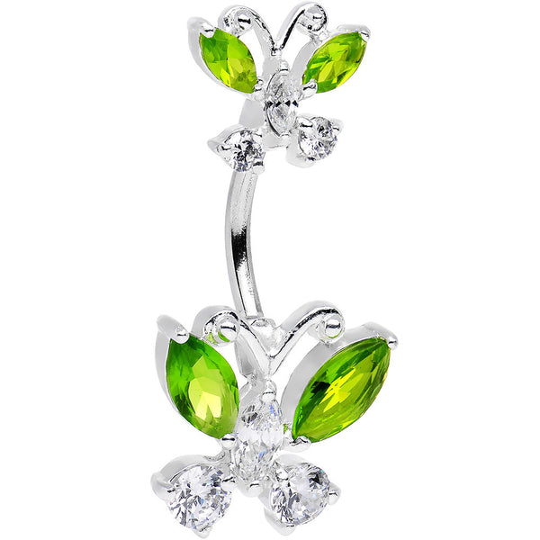 Peridot Butterfly Belly Ring Created with Swarovski Crystals