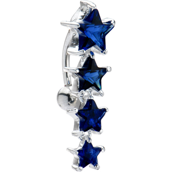Top Drop Sterling Silver 925 Sapphire Blue Cubic Zirconia Star Belly Ring