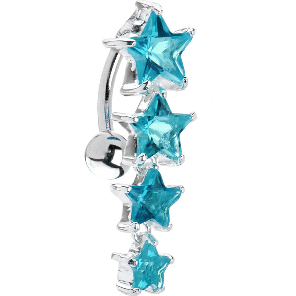 Aqua CZ 925 Sterling Silver Star Top Mount Belly Ring