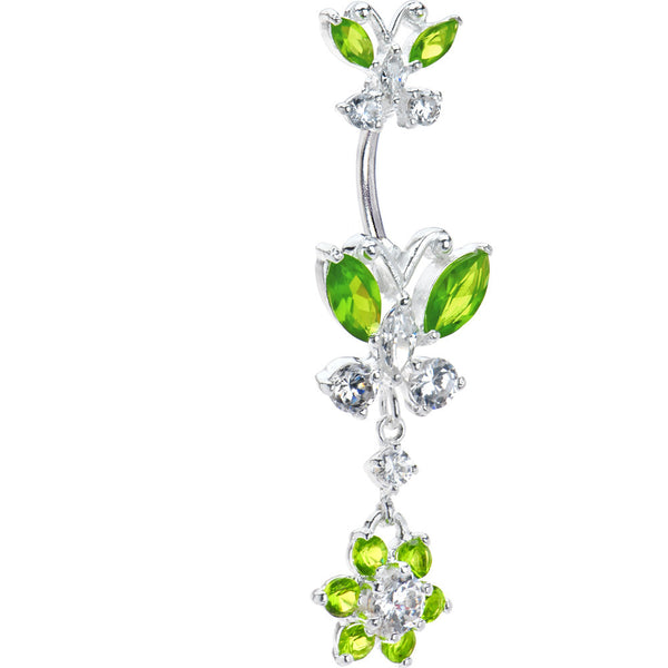 Sterling Silver 925 Peridot Cubic Zirconia Dual Butterfly Flower Belly Ring