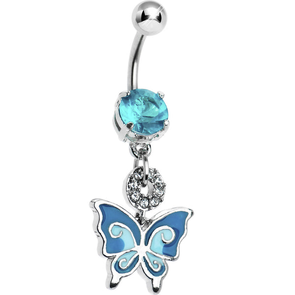 Aqua Gem Enamel Butterfly Belly Ring