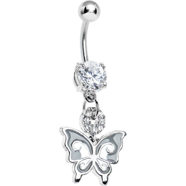 Crystalline Gem Enamel Butterfly Belly Ring