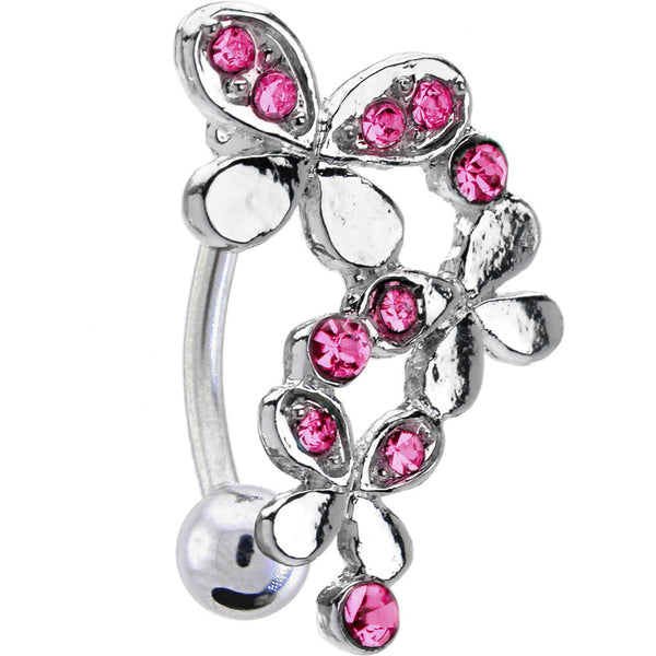 Top Mount Pink Jeweled Triple Butterfly Belly Ring