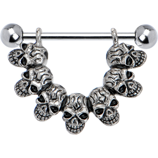 Stainless Steel Lucky 7 Skull Nipple Shield