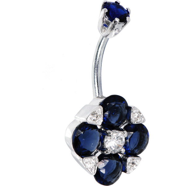 Sterling Silver 925 Sapphire Blue Cubic Zirconia Empress Belly Ring