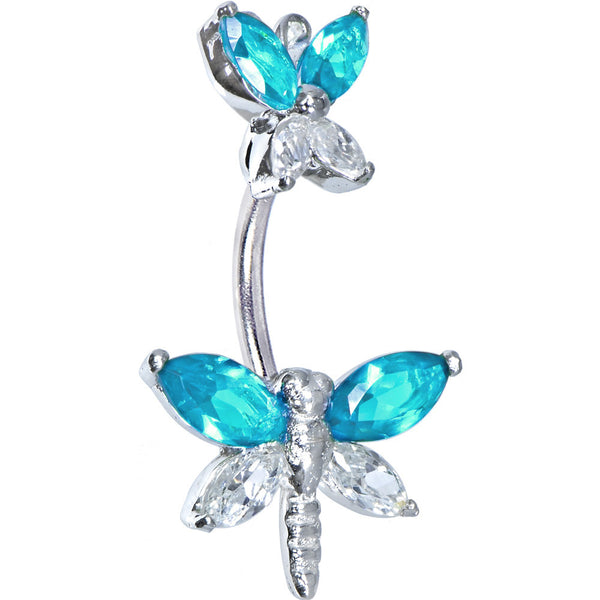Sterling Silver 925 Aqua Cubic Zirconia Butterfly Dragonfly Belly Ring