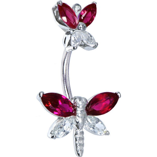 Sterling Silver 925 Siam Red Cubic Zirconia Butterfly Dragonfly Belly Ring