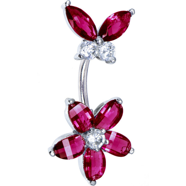 Sterling Silver 925 Red Cubic Zirconia Floral Butterfly Belly Ring