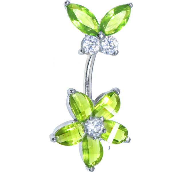 Sterling Silver 925 Peridot Green Austrian Crystal Floral Butterfly Belly Ring