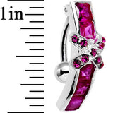 Top Mount Sterling Silver 925 Siam Red X Cubic Zirconia Belly Ring