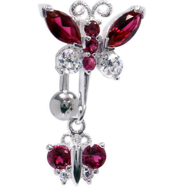 Top Mount Sterling Silver 925 Siam Red Butterfly Dynasty Belly Ring