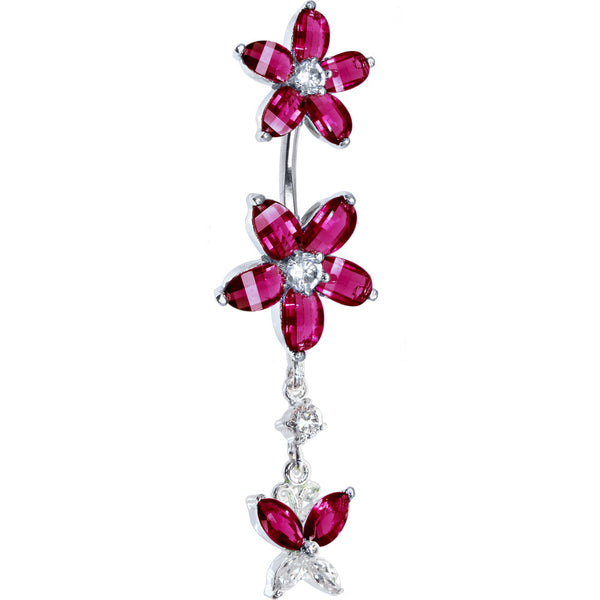 Sterling Silver 925 Siam Red Cubic Zirconia Dual Lily Butterfly Belly Ring