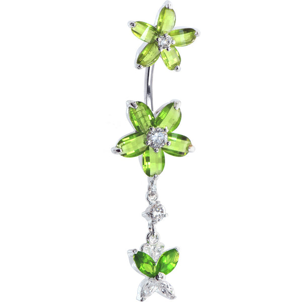 Sterling Silver 925 Peridot Cubic Zirconia Dual Lily Butterfly Belly Ring