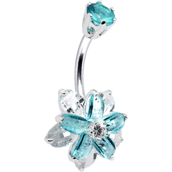 Sterling Silver 925 Aqua Cubic Zirconia Alluring Flower Belly Ring