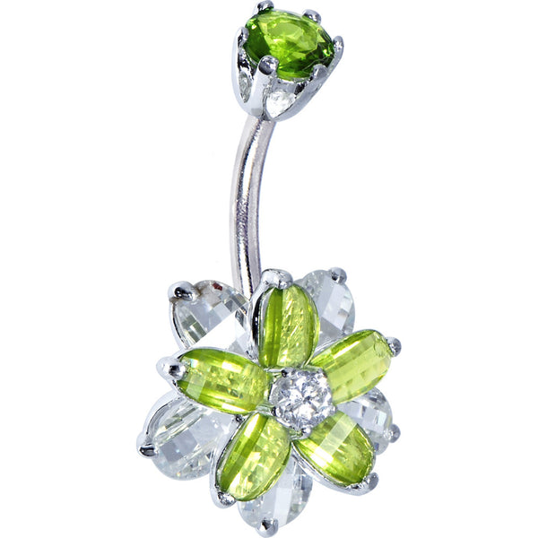 Sterling Silver 925 Peridot Cubic Zirconia Alluring Flower Belly Ring