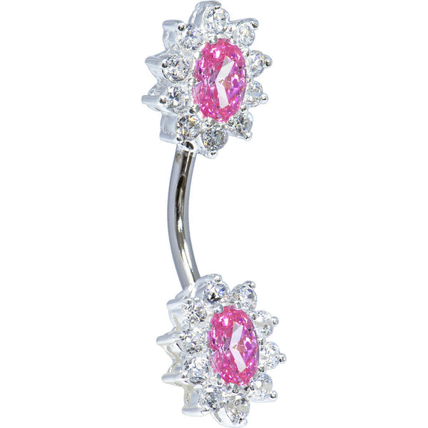 Sterling Silver 925 Pink Cubic Zirconia Unforgettable Belly Ring