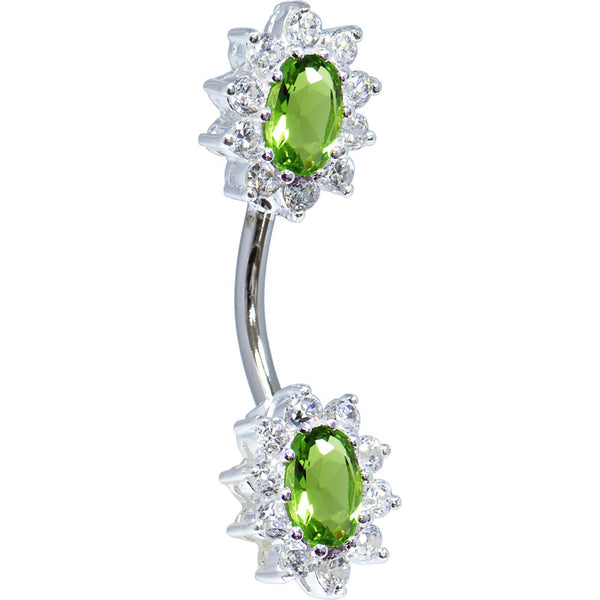 Sterling Silver 925 Peridot Cubic Zirconia Unforgettable Belly Ring