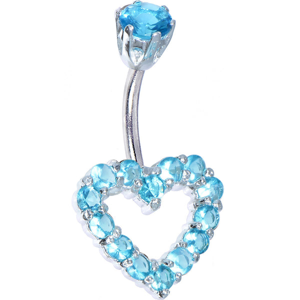 Sterling Silver 925 Aqua Cubic Zirconia Timeless Heart Belly Ring